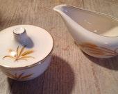 Homer Laughlin Golden Wheat Pattern 22K Cream and Sugar Set Dux Detergent Promo