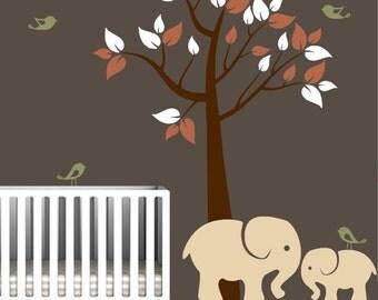 Nursery Wall Decal with Tree, Elephants, and Birds