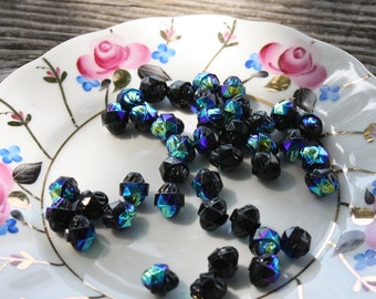 Czech AB Jet Black Cathedral Beads
