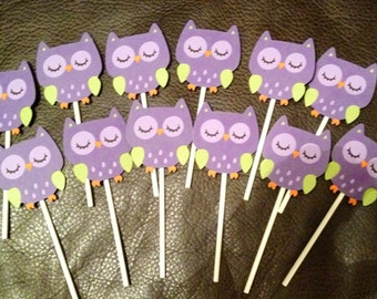 Purple and Green Owl Cupcake Toppers