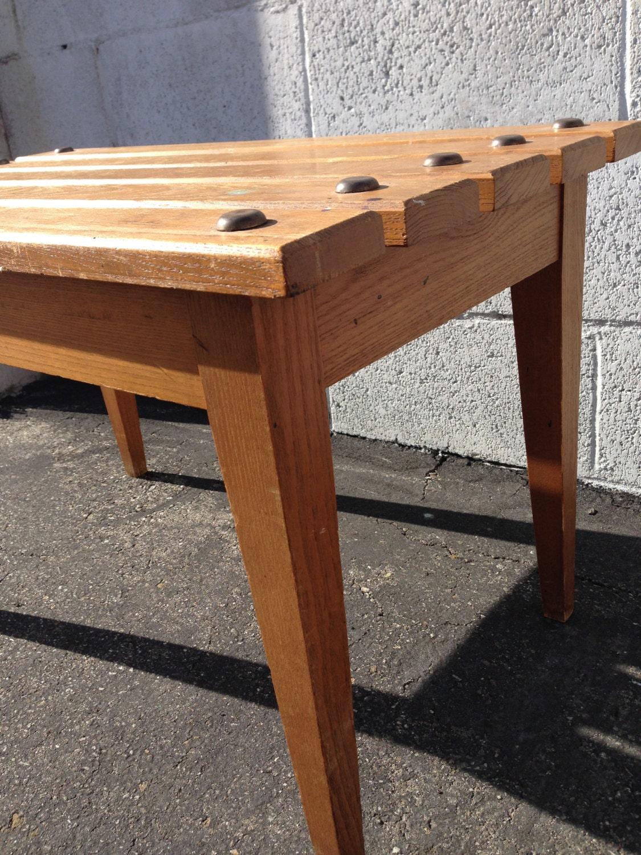 Retro Cool Mid Century Modern Slat Bench Stool Seat Ottoman Mcm Chair Seating Desk Chair