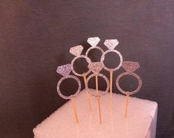 Diamond ring Cupcake toppers /  Glitter cupcake toppers /  Bachelorette Party, bridal shower, wedding