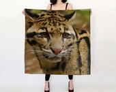 Clouded Leopard Scarf -  Brown Scarf Small Square Scarf 26 x 26 - Tan Scarf Big Square Scarf 36x36  -- Made to Order