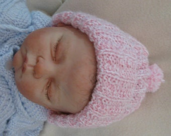 Baby Ribbed Hand Knitted Hat Newborn to 6 mos in Muilt Colors  READY TO SHIP