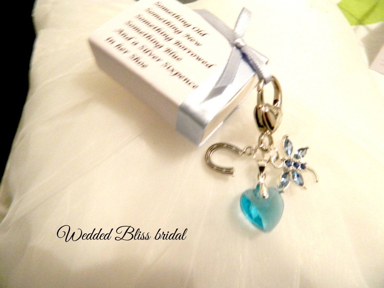 Blue Bridal Bouquet Charm : Wedding bouquet charm something blue