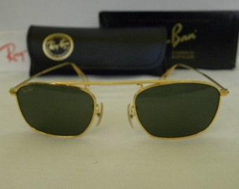 New Vintage b&l Ray Ban Vintage Square Gold G-15 XLT W2001 Aviator Sunglasses usa
