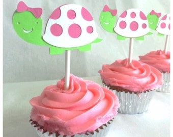 Turtle Birthday Party Girl Cupcake sticks 12 count  Happy Birthday Girl Turtle theme