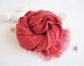 Linen scarf- kids scarf- children accessories- girl-  women- summer- red coral color scarf- trending items- all seasons scarf- gauze linen