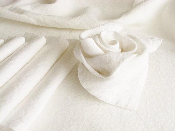 Set of 20 natural softened linen napkins -rustic weddings table serving- entertainment favors-  white color linen - handmade