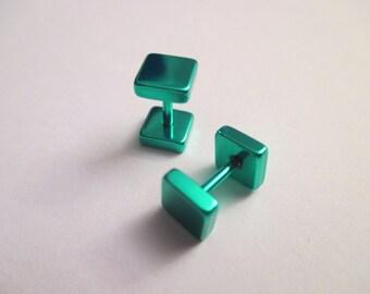 Square Fake plug green 6mm