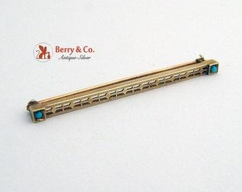 Vintage Bar Pin 14 K Yellow Gold Turquoise 1930