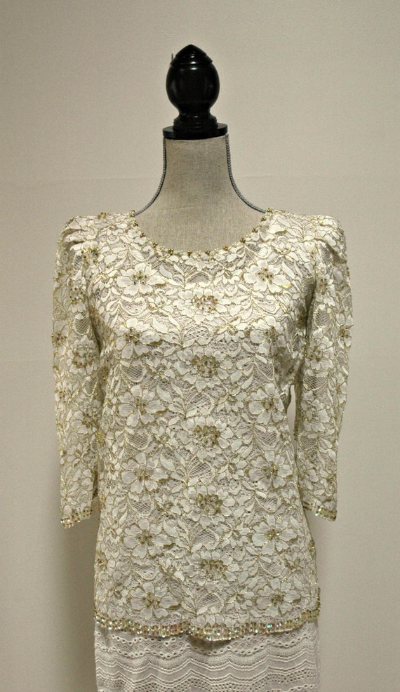 Vintage Ivory And Gold Lace Beaded Wedding Cover Up Cocktail