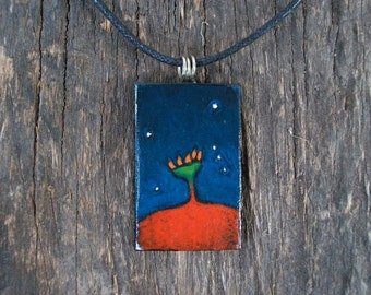 Leather pendant. Pendant hand painted leather. Necklace. OOAK