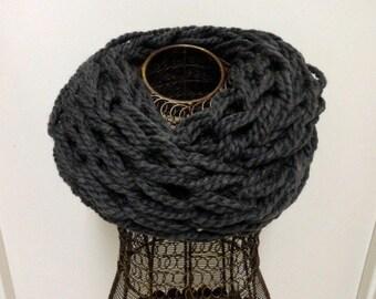 Charcoal Grey Infinity Scarf, Knit Infinity Scarf, Knitted Scarf, Scarf, Arm Knit Scarf, Infinity Scarf, Arm Knitted Scarf, Chunky Scarf