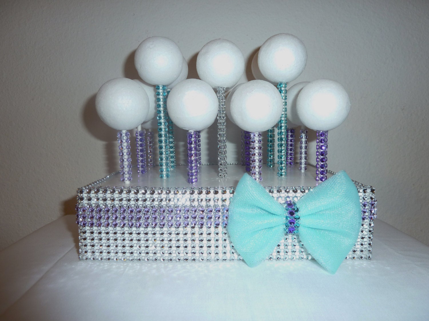 teal aqua lavender purple bling cake pop by