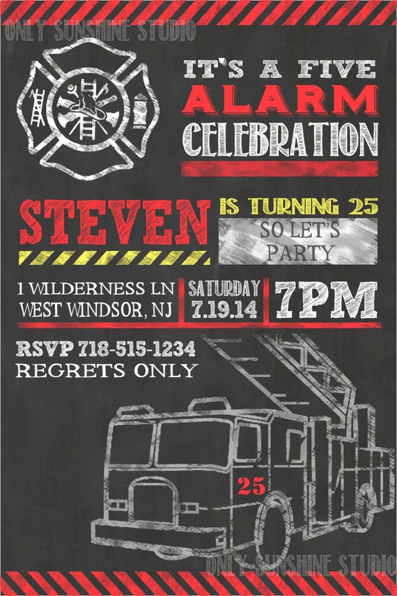 Items similar to Fireman Printable Invitation 25th 30th 50th – Firefighter Birthday Invitations