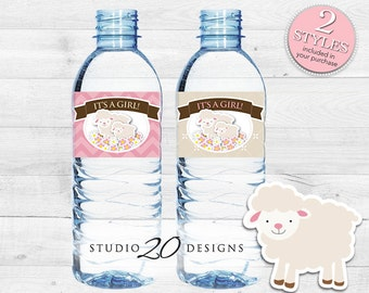 Instant Download Pink Lamb Baby Shower Water Bottle Labels, Printable Pink Lamb Bottle Labels, It's A Girl Water Bottle Labels 39A