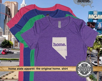 Nevada Home. T-shirt- Womens Red Green Royal Pink Purple