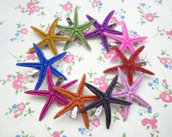 SALE-- 10 pcs Starfish Hair Clip Mixed Colors (10 clors)