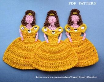 Applique Pattern, Crochet Applique Pattern, Applique design, Princess Belle, Applique Template, Applique patterns, Crochet princess, child
