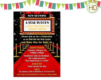 Red Carpet Baby Shower Invitation, Hollywood Party, Red Carpet Birthday Party, Movie Theatre Marquee, Hollywood Invitation