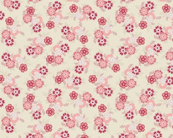 Sue Daley for Riley Blake, Parlour Main Cream Fabric 1/2 Yard