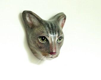 Custom cat portrait / Cat memorial wall mount, art sculpture, faux taxidermy