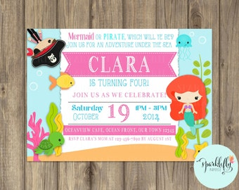 Mermaids and Pirates Invitation Under the Sea Birthday Invitation by Sparklefly Paperie