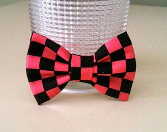 Dog Bow Tie-tiny- Pink and Black Checker