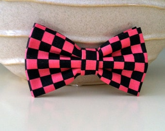 Dog Bow Tie- Pink and Black Checker