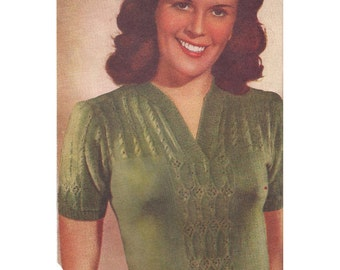 1940s Knitting Pattern for Womens Jumper / Blouse in Lace Stitch Short Sleeve - Digital PDF