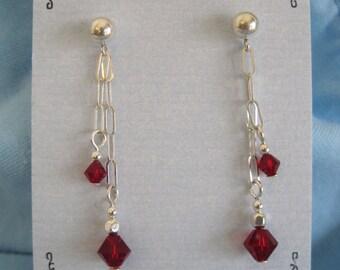 Sterling Silver Dangle Earrings with Garnet Swarovski Crystal Beads
