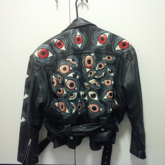 hand painted argus eyes leather jacket