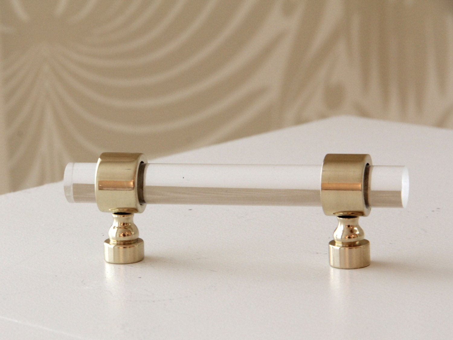1 2 Dia Polished Brass Drawer Pulls Lucite Cabinet By