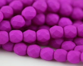 50 Neon Purple, 4mm Faceted Round Czech Glass Fire Polished Beads (FP-4M-67)