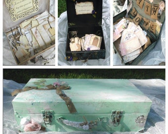 Custom Wedding Guest Book Box, You Choose All,  Wedding Card Box, Rustic Distressed, Guest Book Alternative, Suitcase, Shabby Chic, Vintage