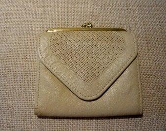 Vintage Leather Wallet Princess Gardner Cream Color Leather