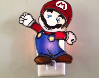 Mario, Stained Glass, Night Light, Sun Catcher, Custom Made, Handmade