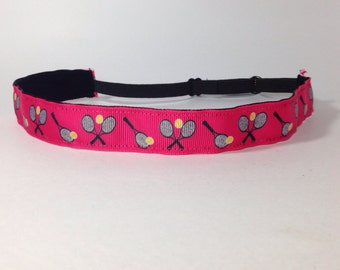 "7/8"" Bright Pink Tennis non slip headband adjustable size, sports headband"