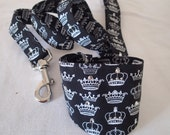 "Black with white crowns Bandanna & Matching lead with Swarovski crystal embellishments for small dog or cat (up to 10"" neck)"
