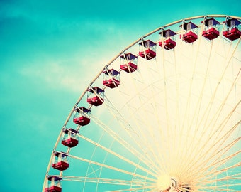 "Chicago Art, Ferris Wheel Photography, Carnival Art, Fine Art Print, Navy Pier, Nursery Wall Art, Girls Room Decor, - ""Round and Round"""