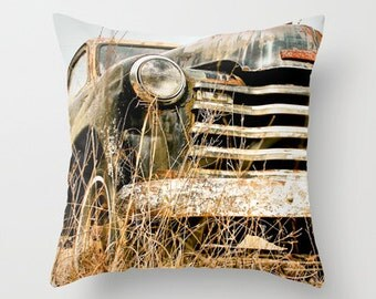 Throw Pillow, Old Chevy Truck, Vintage Chevrolet, Truck Bedding, Chevy Pillow Case, Decorative Pillows, Boy Room, Man Cave, 16x16
