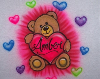 TEDDY BEAR with hearts Airbrush t shirt Personalized... youth and adult sizes