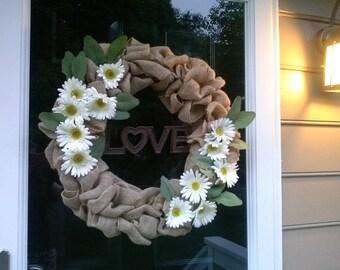 Sunflower Love Burlap Wreath