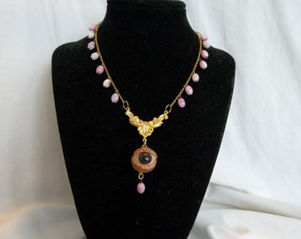 Creepy Antique Glass Eye Eyeball Victorian inspired Pink Beads Gold tone Gothic Necklace