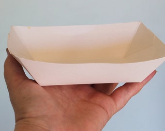 Paper Food Trays, 25 Medium 2# lbs White Paper Food Tray, Snack Boxes, Concession supplies, Concession food, Paper food box, food party tray