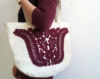 Linen burgundy tote bag, tulip Shopping bag, Linen handbag, hand made embroidered burgundy Hungarian tulip