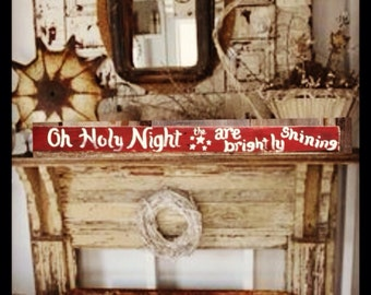 Christmas Decor Rustic Primitive Hand Painted Reclaimed Pallet Sign