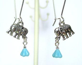 Elephant earrings - forget me not earrings - An elephant never forgets - Cute Elephant earrings - Uk