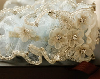 Bridal beaded garter set Roma